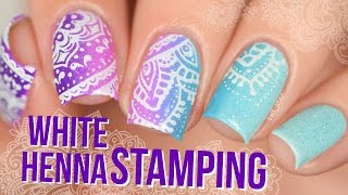 Purple Mint Gradient with White Henna Stamping Nail Art