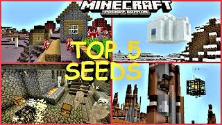Minecraft PE - TOP 5 SEEDS ! ULTRA RARE VILLAGES, STRONGHOLDS, DUNGEONS & MORE ! - MCPE 1.0.4/1.0.5