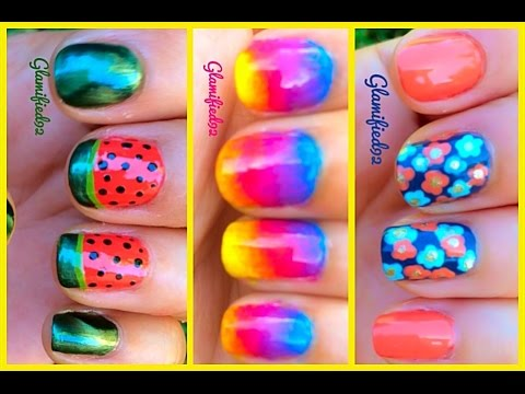3 Easy Summer Nail Art Designs for Summer 2014 - 3 Easy Summer Nail Art Designs For Summer 2014 - YouTube