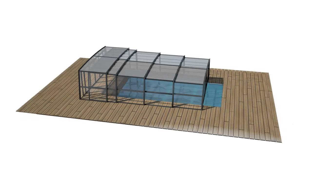 Abri de piscine haut r design t lescopique 3d azenco for Abri piscine azenco