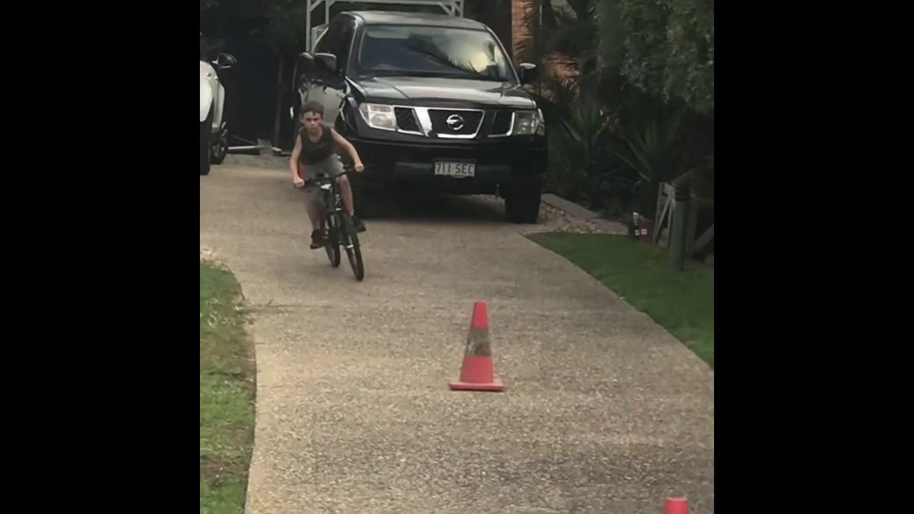 My brother doing a track on his bike