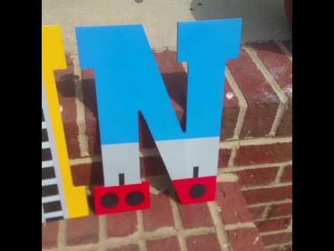 Thomas the Train Inspired Hand Painted Wooden Letters