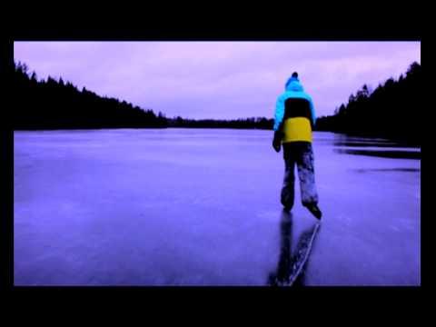 Frozen lake skating in Finland