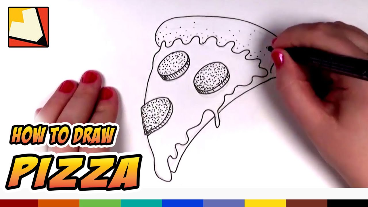 How To Draw A Pizza Slice For Kids Cartoon Pizza Art For Kids Cc