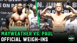 Floyd Mayweather vs. Logan Paul Official Weigh-Ins