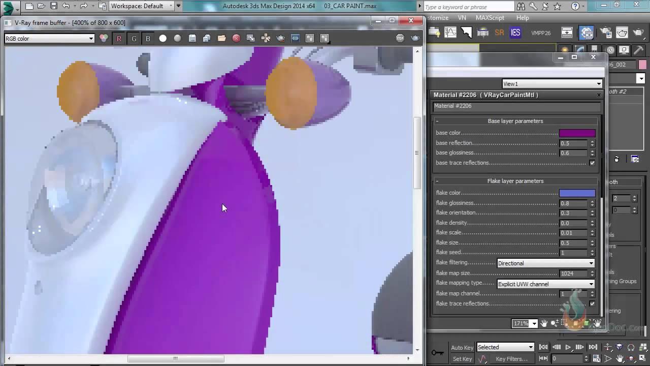 Hướng dẫn sử dụng vật liệu sơn xe 3Dsmax