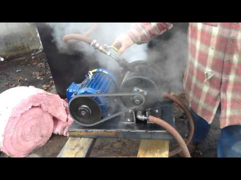 Tesla turbine second live steam test.