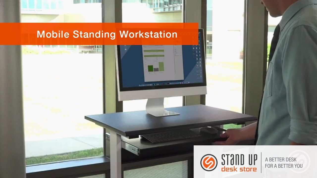 mobile standing computer workstation stand up desk store - Standing Computer Desk