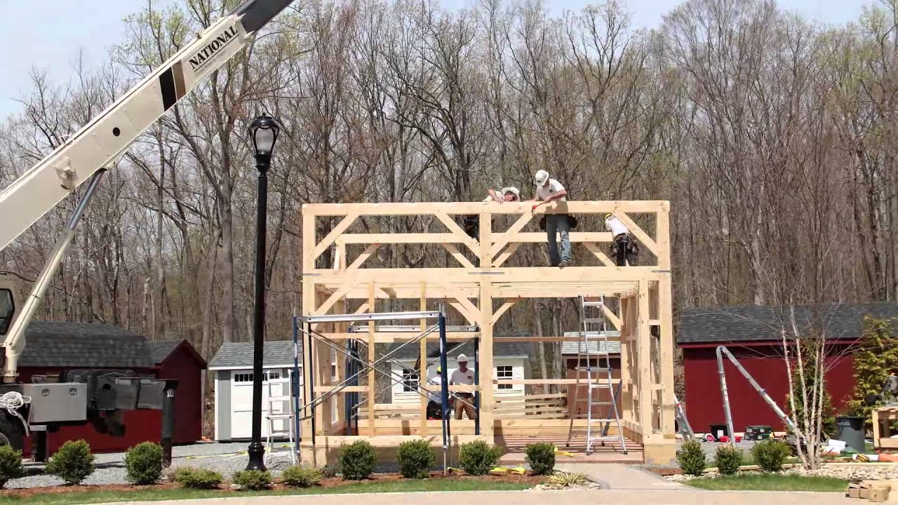 18x20 Post And Beam Barn Raising Youtube