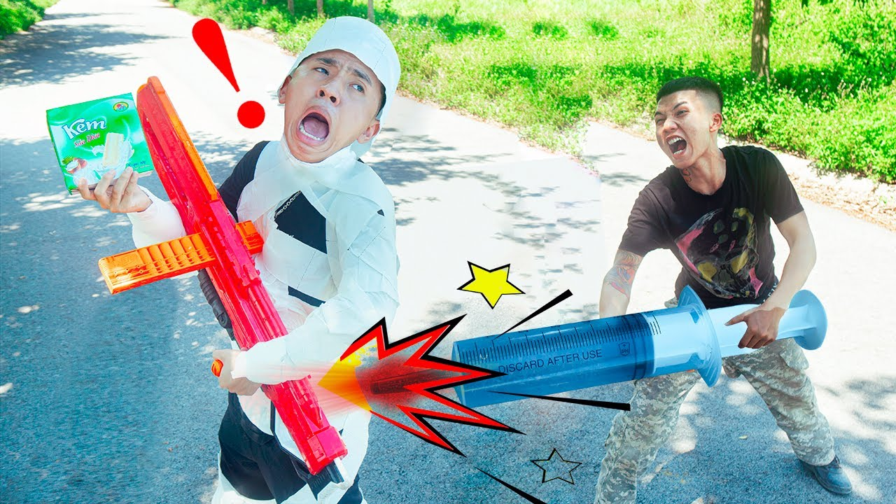 Battle Nerf War: Dr. Man & Blue Police Nerf Guns Robbers Group COCONUT ICE CREAM BATTLE