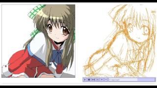How to draw an anime girl 004【絵の描き方】
