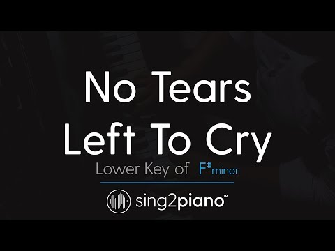 "No Tears Left To Cry (Lower ""F#m"" Piano Karaoke) Ariana Grande"