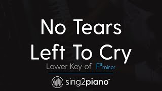 "No Tears Left To Cry (Lower ""F#m"" Piano Karaoke) Ariana Grande"