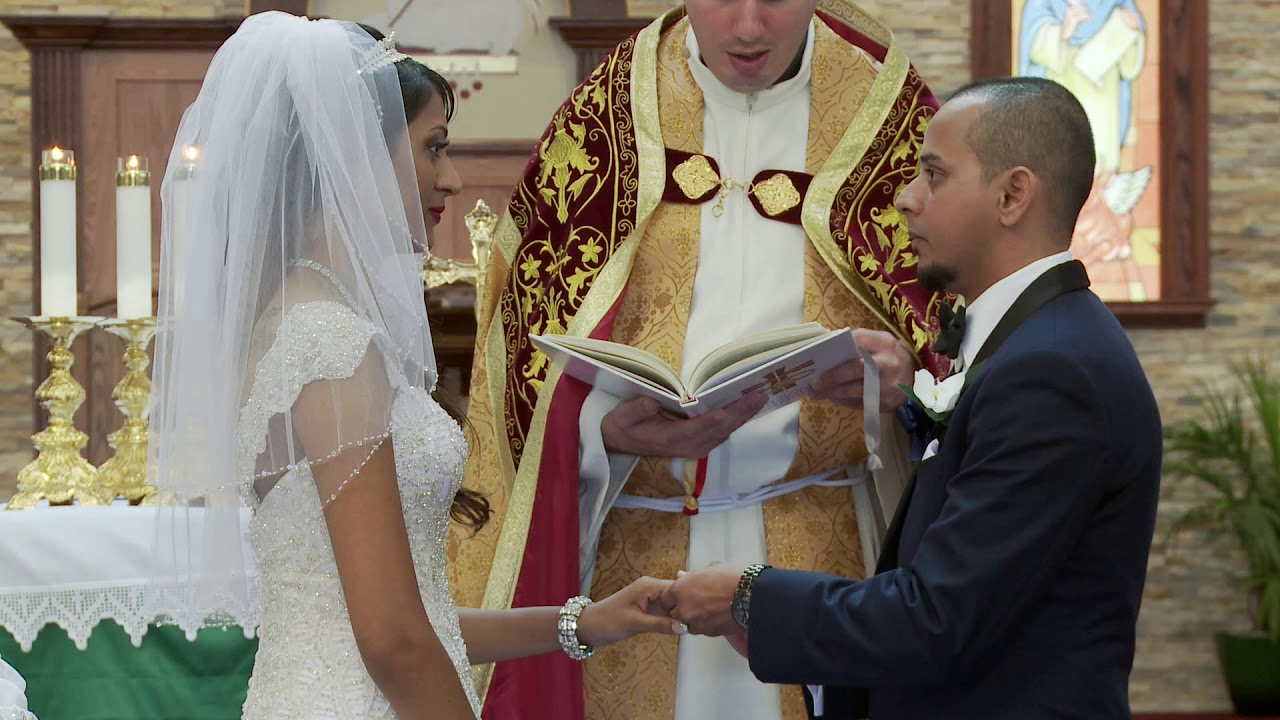 Marriage Vows And Rings Exchange An Indian Wedding At St Francis De Sales Catholic Church