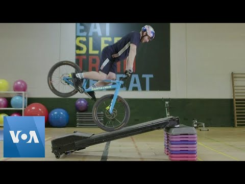 Stunt Biker Turns Gym Equipment Into Obstacle Course