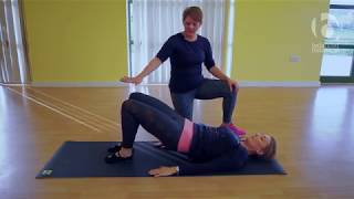 Shoulder Bridge Level 1 with Lat Stretch - Simple Pilates for back pain