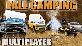 FARMING SIMULATOR 2017 | FĄLL CAMPING DOWN BY THE RIVER | NEW RV, BOATS, ATV | MULTIPLAYER