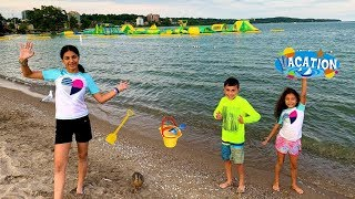 Family Play Day at the Beach Sand with HZHtube Kids Fun