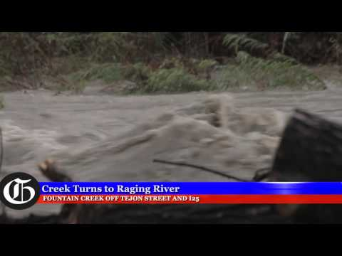 Fountain Creek becomes a raging river
