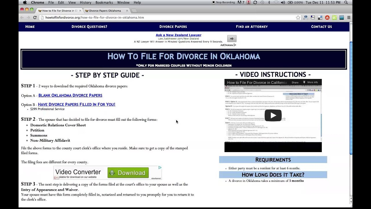 Free Oklahoma Divorce Papers and Forms YouTube – Free Divorce Forms Papers