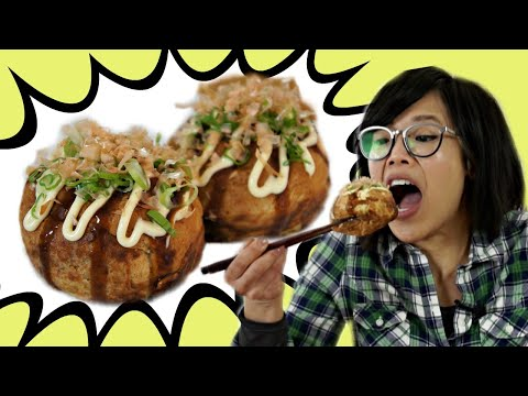 GIANT TAKOYAKI 🐙Octopus Balls Recipe & MEGA Takoyaki Maker Gadget Test