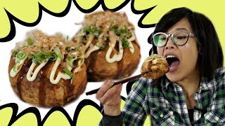 GIANT TAKOYAKI 🐙Octopus Balls Recipe & MEGA Takoyaki Maker Gadget Test