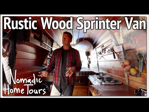 Rustic Wood Sprinter Van Build with Home Theater | Vanlife Tour