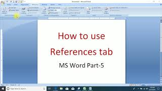How to Use References tab Microsoft Word Part-5