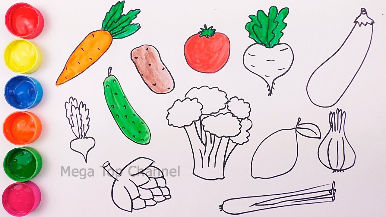Learn Colors for Kids   How to Draw Vegetables Learn Names ...