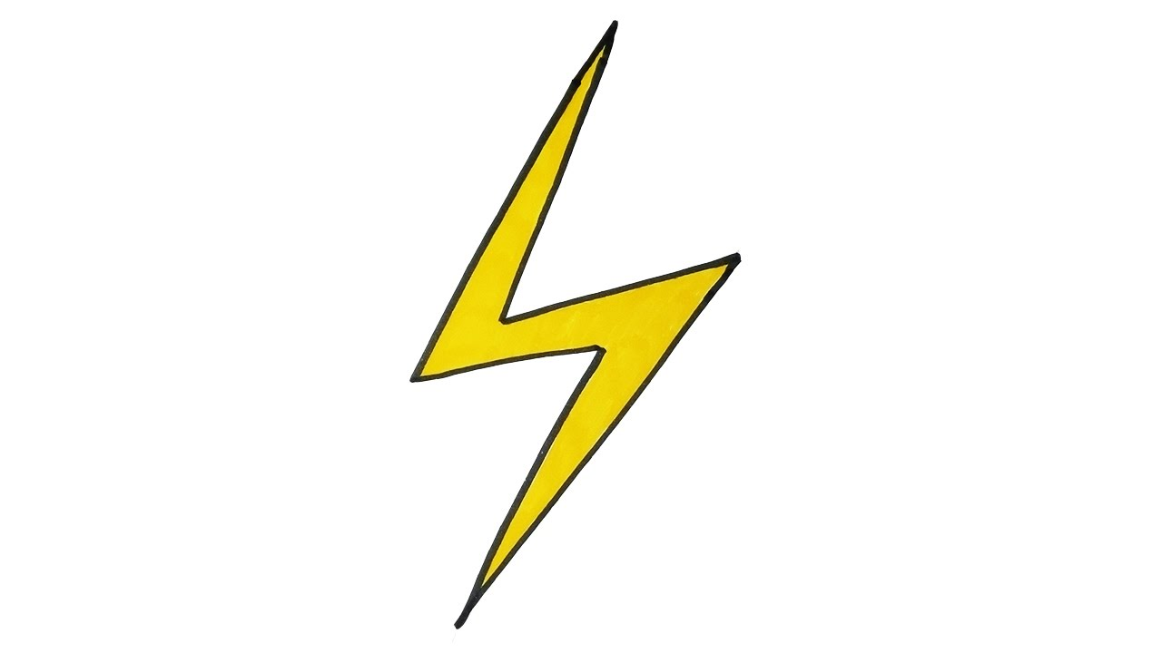 VERY EASY - How To Draw a Lightning Bolt - For Kids - YouTube
