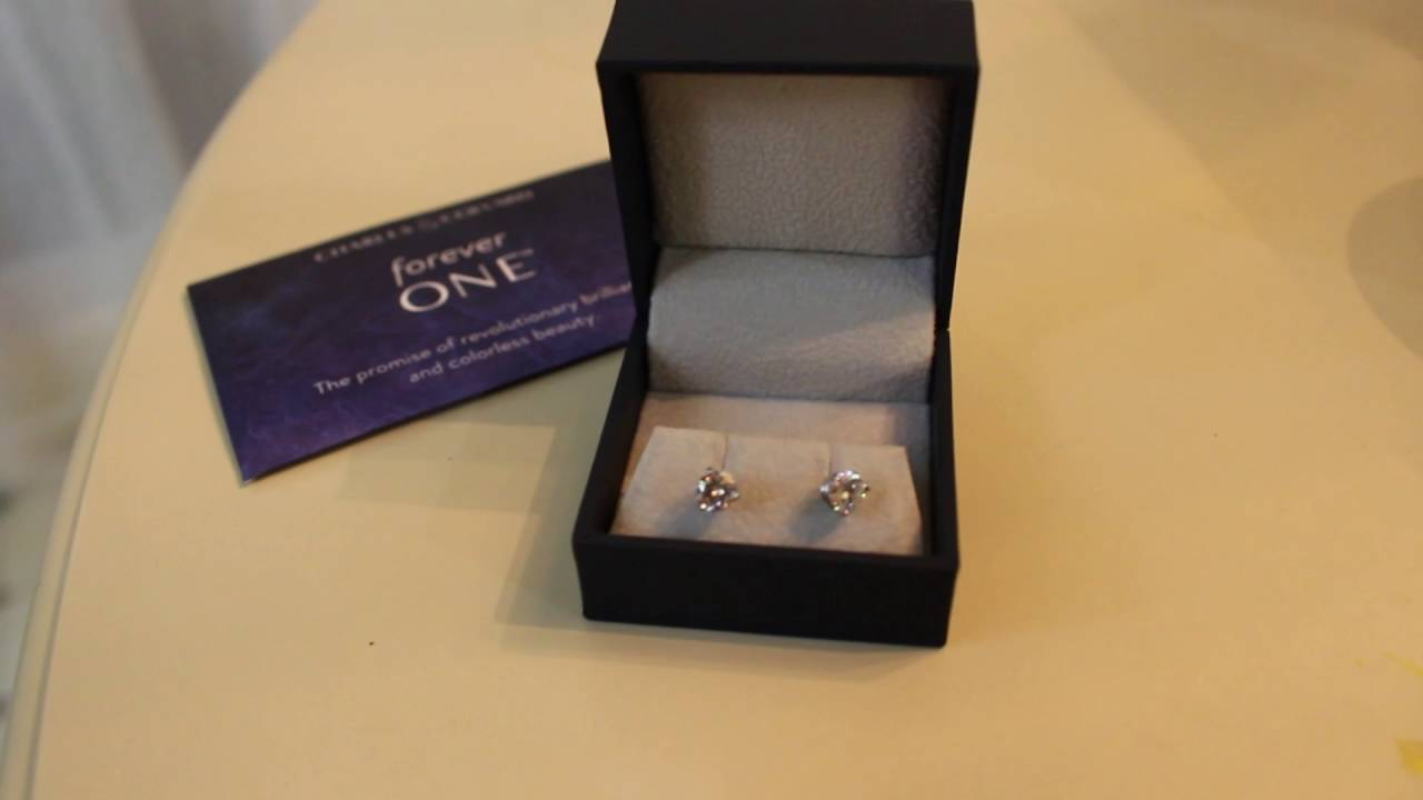 3 G Round Forever One Moissanite Basket Stud Earrings