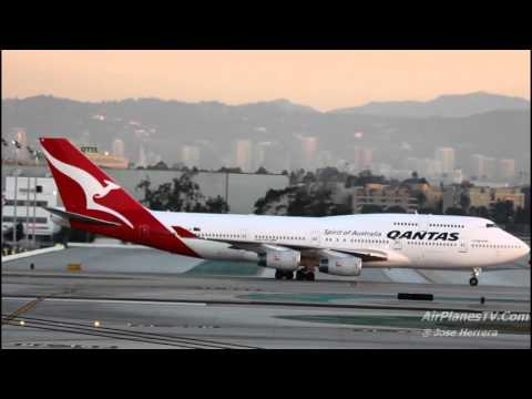 The Morning of Qantas Airways at LAX 30 Minutes of Plane Spotting Video
