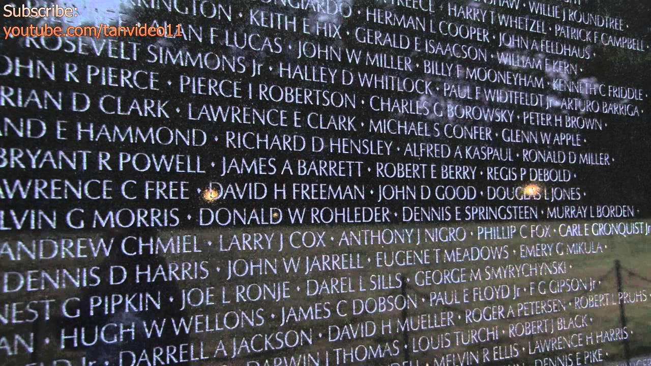 Vietnam Memorial Close Up on Names Washington DC