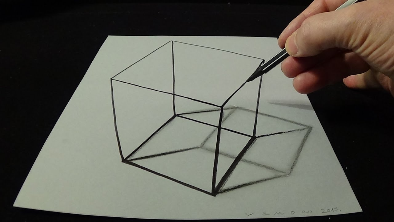 3d drawing a simple cube no time lapse how to draw 3d cube