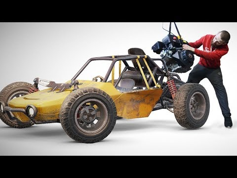 HOW TO MAKE BUGGY From PUBG. Part 6. Engine Installation: First Variant + Automatic Clutch.