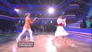 Sharna Burgess and Charlie White dancing Jazz on DWTS 4 14 14