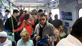 Crowded train due to reduced summer timetable