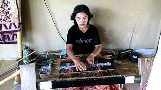 Songket weaving with a backstrap loom, Sidemen, Bali, Indonesia