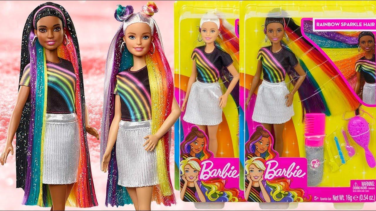 Yeni Barbie Parlak Gokkusagi Sacli Bebekler Sparkle Rainbow Hair