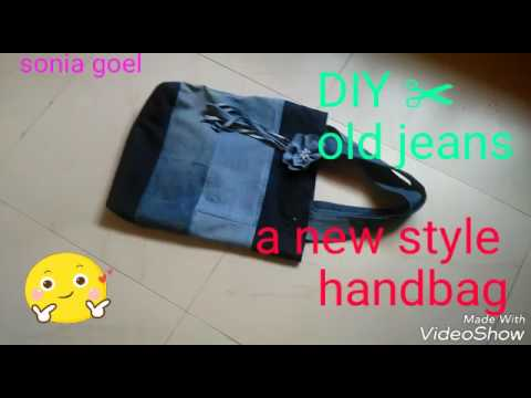 DIY ✂ OLD JEANS 👖 INTO A BEAUTIFUL HANDBAG /\/\ Denim jeans new style shoping Bag ( try this friend