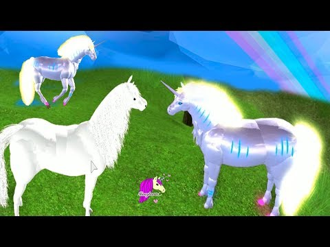 Glowing Unicorns ! Roblox Let's Play Horse World Video Game