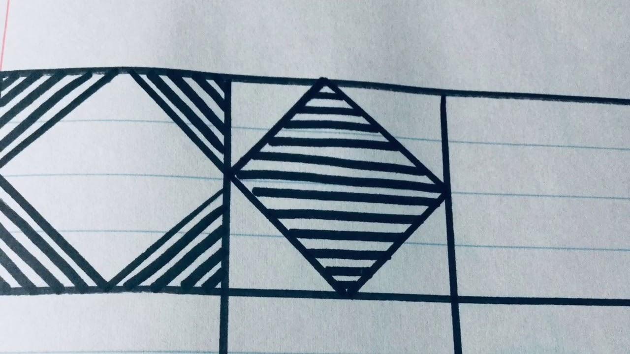 رسم زخرفة بسيطة وسهلة جدا بأشكال هندسية المثلث والمربع بشكل بسيط والطريقة سهلة جدا رقم 158 Youtube