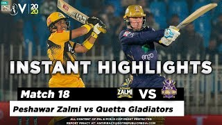 Peshawar Zalmi vs Quetta Gladiators | Full Match Instant Highlights | Match 18 | 5 Mar | HBL PSL 5