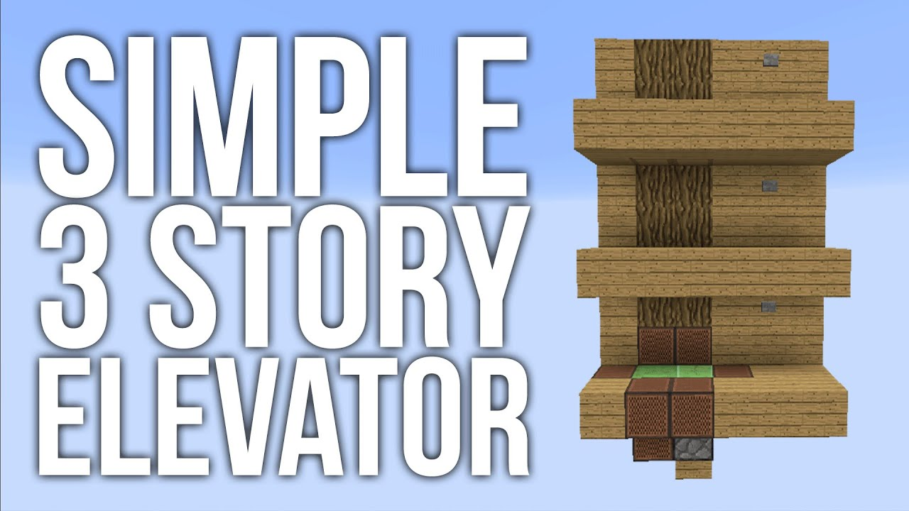 Minecraft simple 3 story elevator redstone tutorial for 1 story elevator