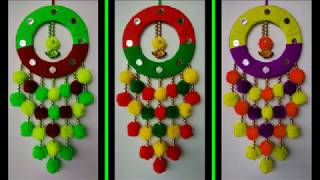 DIY BEAUTIFUL WALL HANGING TORAN MAKING || HOW TO MAKE WALL HANGING TORAN FROM WOOLEN POM POM ||