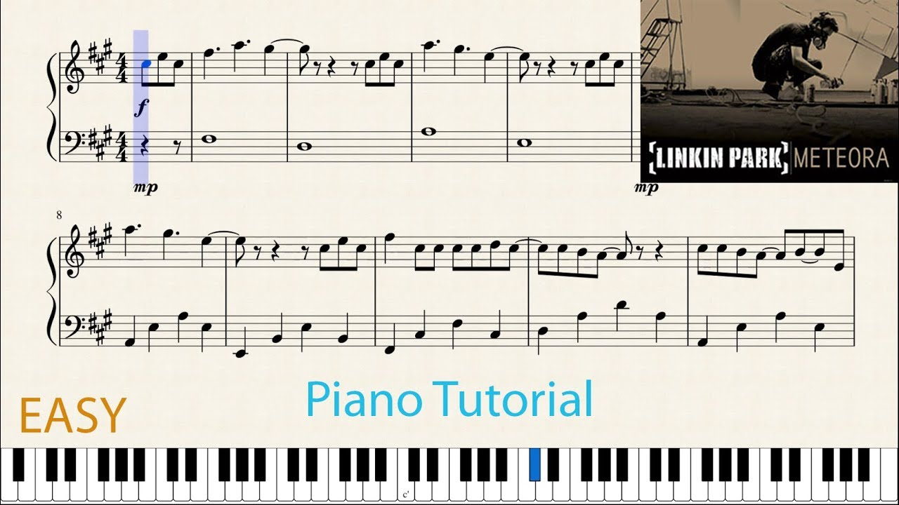 Numb(Linkin Park)- Easy Piano Tutorial With Notes (MuseScore)