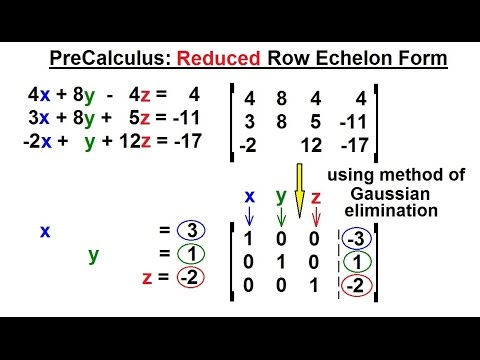 PreCalculus - Matrices & Matrix Applications (4 of 33) Reduced Row ...