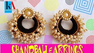 How to make Chandbali Silk Thread Earrings with loreals   Tutorial