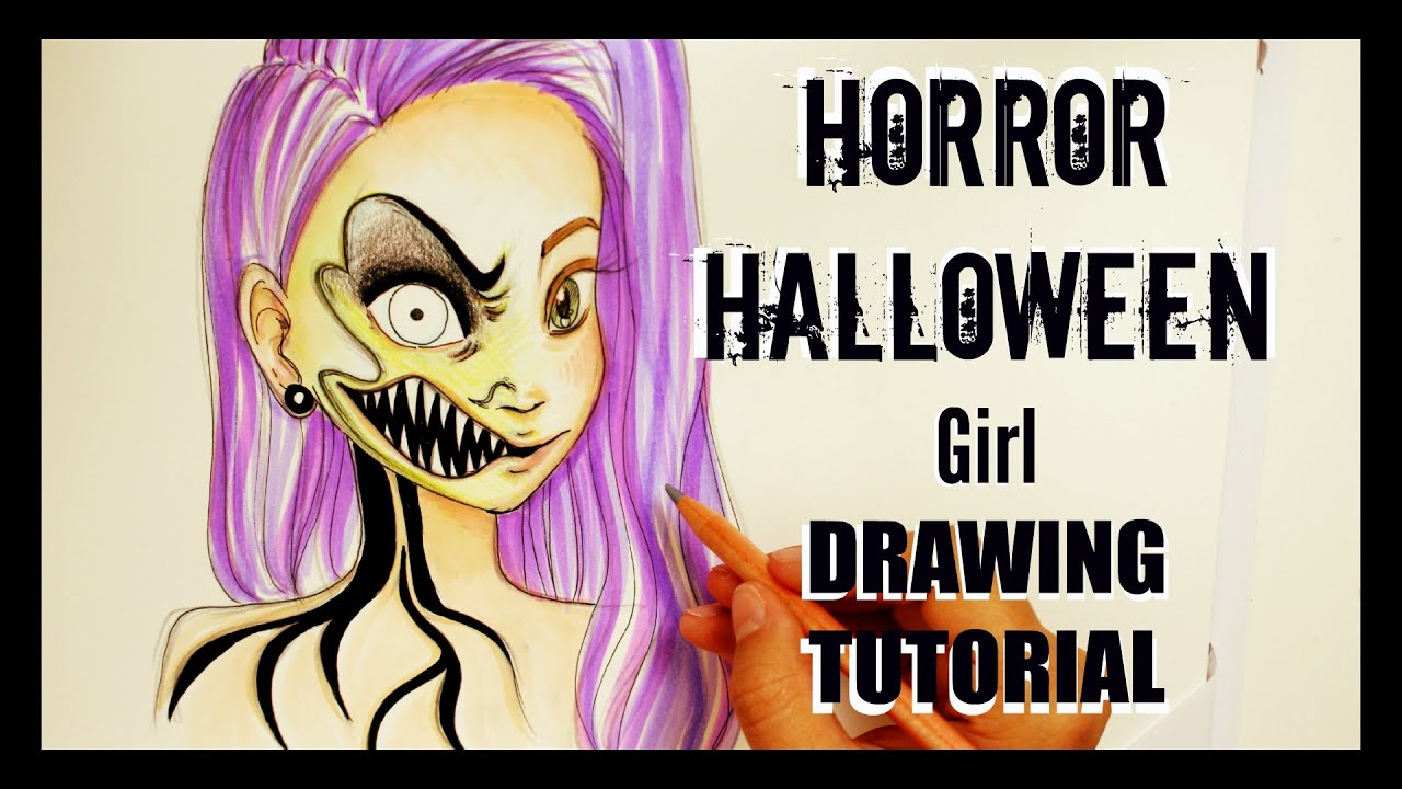 how to draw horror halloween youtube
