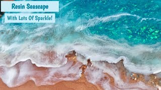 Resin Seascape Painting With Lots Of Sparkle